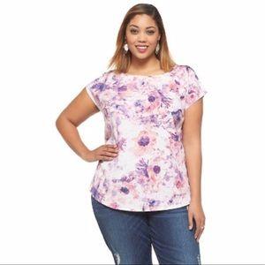 Ava & Viv Lilac Watercolor Floral Shirt